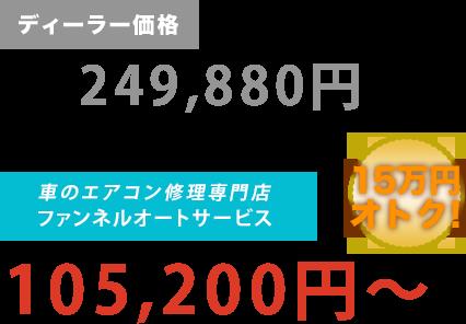 ディーラー価格249,880円がファンネルオートサービスだと105,200円~。15万円もお得!